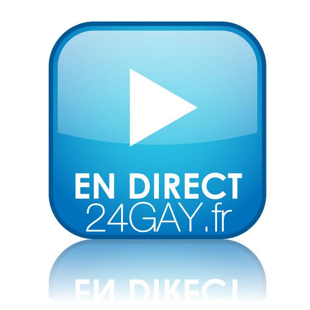 """Bouton carrÈ """"EN DIRECT"""" avec reflet (bleu)"""