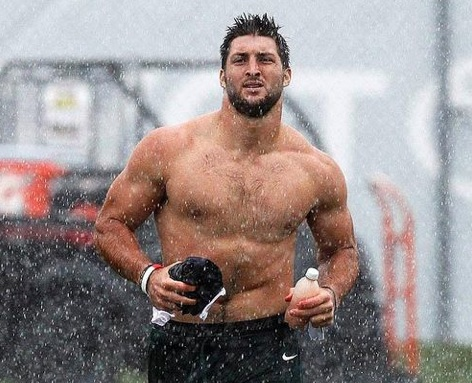 Tim Tebow Shirtles Run Rain