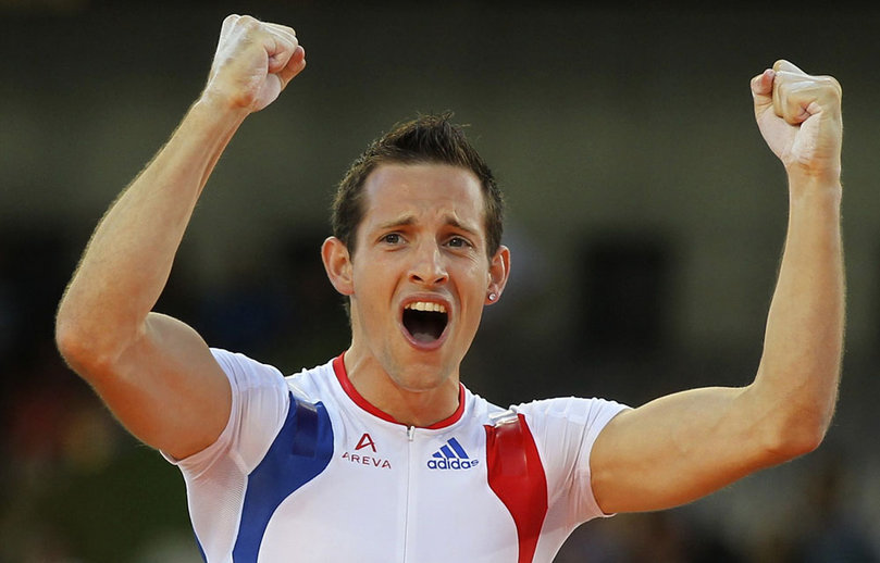 Lavillenie of France celebrates after winning gold medal in men's pole vault final at European Athletics Championships in Barcelona