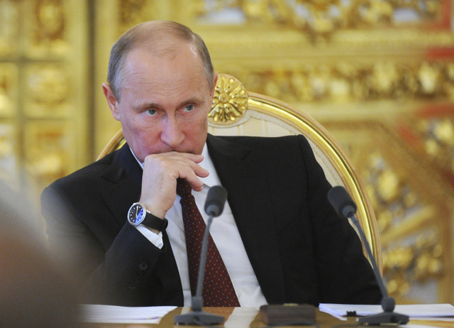 Russia's President Putin attends a meeting to present an annual government's budget plan at the Kremlin in Moscow