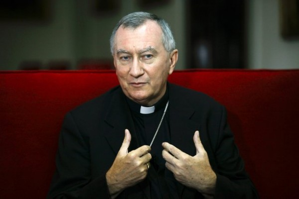 Vatican's newly appointed secretary of state gestures during an interview in Venezuela