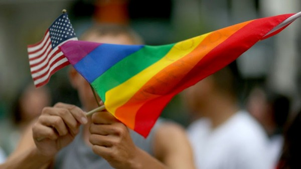 U.S. and gay banner