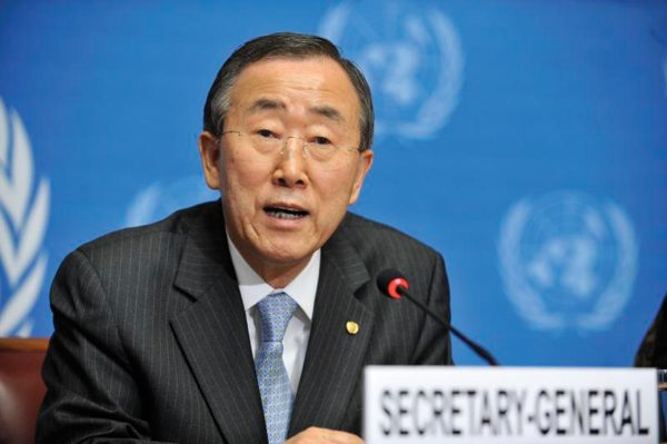 Secretary-General Ban Ki-moon speaks during the press conference of the Durban Review Conference.