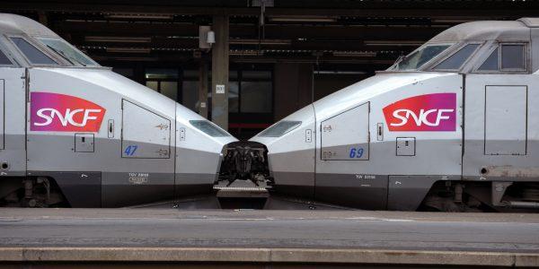 This photo taken on November 12, 2013, shows a high-speed TGV train at the Paris Lyon railway station. AFP PHOTO / ERIC PIERMONT