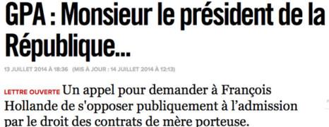 Une tribune sur la GPA adressée à Hollande